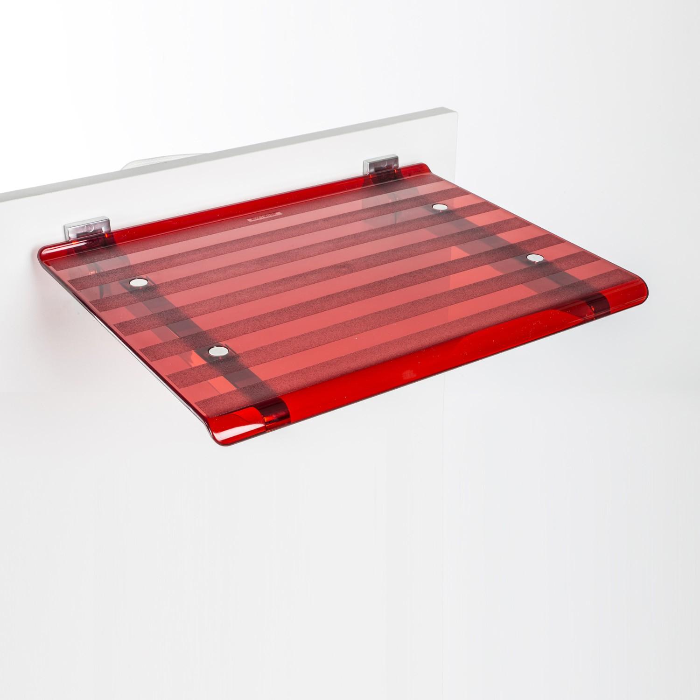 sedile-doccia-ribaltabile-leo-rosso-trasparente